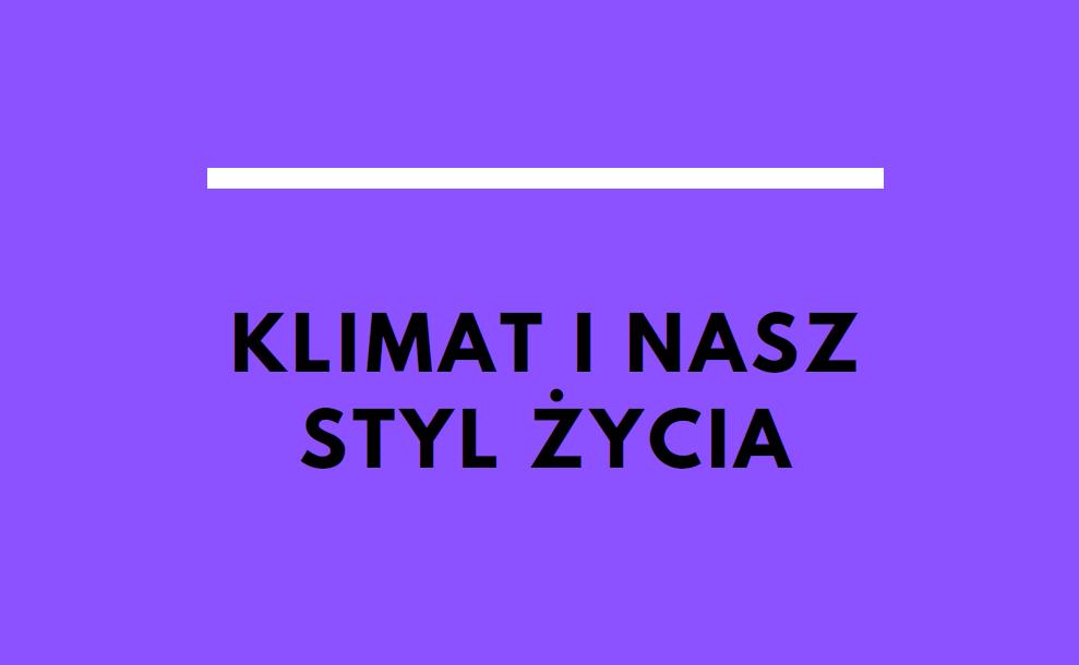 okładka publikacji. Napis: klimat i nasz styl życia